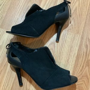 Nine West Andra Suede Leather Open Toe Booties